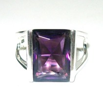 STERLING SILVER AMETHYST GEMSTONE LARGE RING SIZE 11 - $90.00
