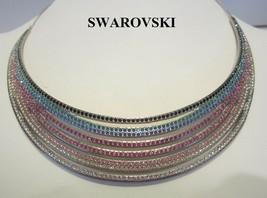 Authentic Swan Signed SWAROVSKI Rainbow Rhinestone Rhodium Necklace Choker - $178.15