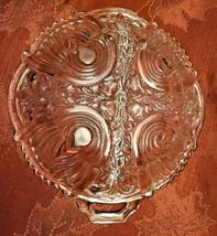 Vintage Divided Condiment Dish Double Handle Pressed Glass Fleur De Lis Pattern image 2