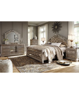 ALEX 5pcs Traditional Silver Bedroom Set w/ King Size Faux Leather Panel... - $2,729.73
