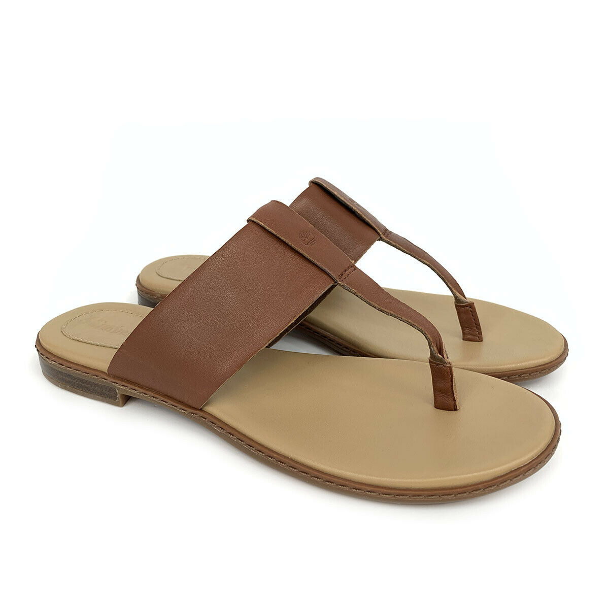 Primary image for Timberland Women's Cherrybrook Brown Leather Thong Sandals A1OZ5