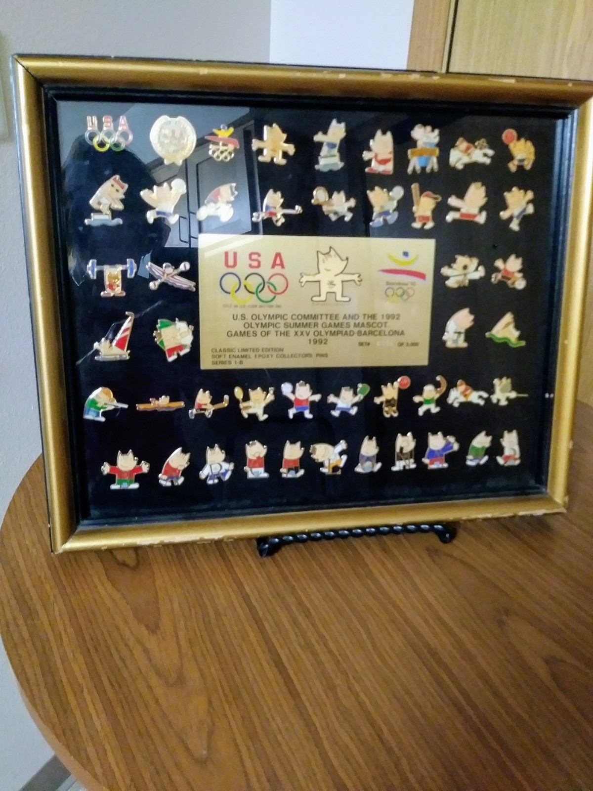 "1992 Barcelona Summer Olympics Limited Edition 12"" x 15"" Framed  Cobi Pin Set w/"