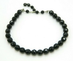 Black Glass Faceted Beaded Clear Rhinestone Silver Tone Choker Necklace Vintage - $29.69