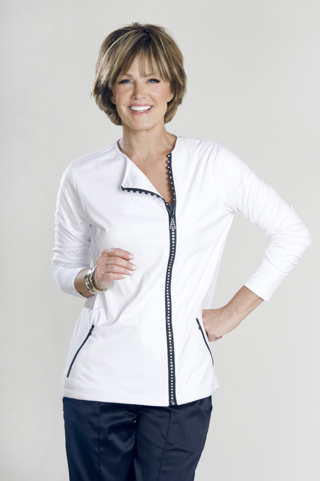 Stylish Women's Golf & Casual White Short Sleeve Mock Polo, Rhinestone Zipper  image 6