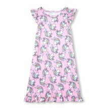 NWT The Childrens Place Girls Pink Unicorn Sleeveless Nightgown Pajamas - $10.99