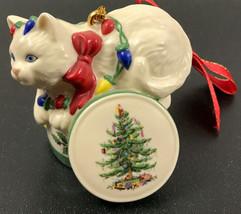 Vintage Signed Spode Cat ceramic porcelain Christmas ornament White Kitten - $24.20