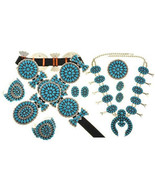 Navajo Turquoise Cluster Squash Blossom Necklac... - $6,900.00