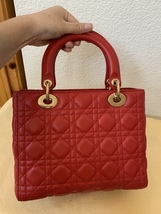 AUTH Christian Dior Lady Dior Medium RED Cannage Lambskin Tote Bag GHW image 3
