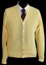 Vintage 80s Yellow Grandpa Cardigan Golf Sweater Size Medium to Large - $49.99