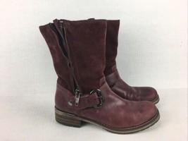Clarks Burgundy Suede Leather Ankle Boots Side Zip Up Buckle Shoes Women 8M - $54.40