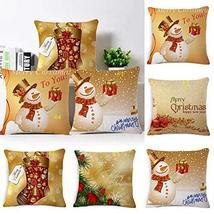 Christmas Pillow Case Glitter Cotton Linen Sofa Throw Cushion Cover Home... - $19.80