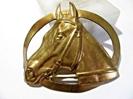 LARGE BRASS HORSE HEAD PIN OPEN WORK VINTAGE DETAILED  - $35.00
