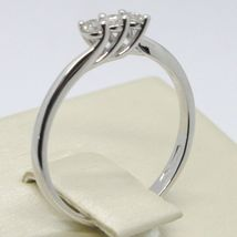 White Gold Ring 750 18K Trilogy with Diamonds TCW 0.12 Made in Italy image 4