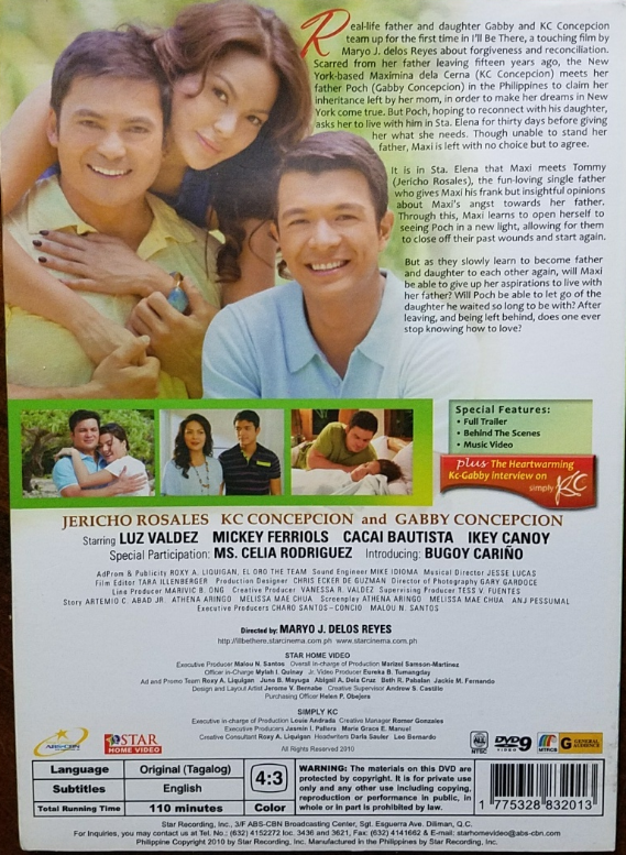 I'LL BE THERE: Jericho Rosales, KC Concepcion, Gabby Philippine/Tagalog DVD