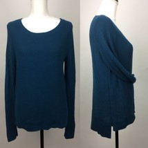Ann Taylor Loft Pullover High Low Blue Knitted 100% Cotton Sweater Longsleeve - $13.09
