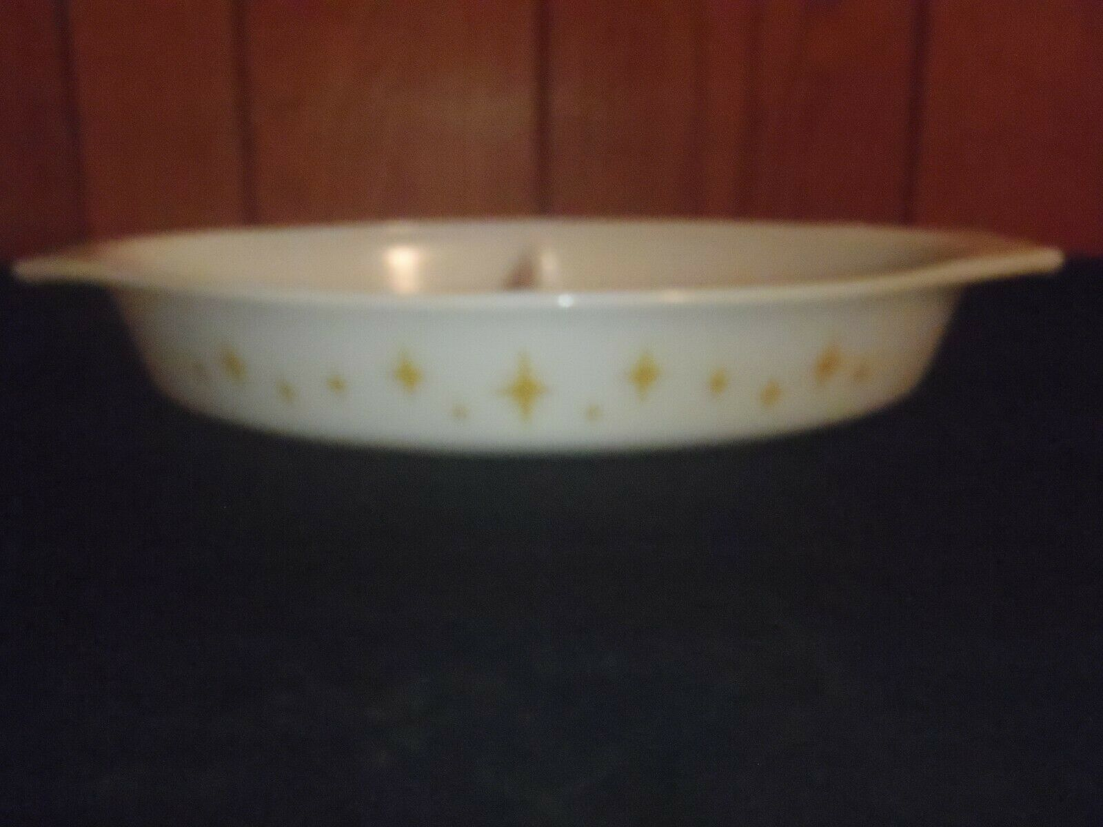 Vintage Pyrex Promo Atomic Starburst Yellow Divided Casserole Dish