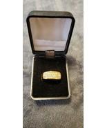 VINTAGE MEN'S GOLD TONE RING WITH FAUX DIAMONDS - SIZE - 8 - $50.00