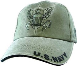 U.S. Navy with Navy Insignia O.D.G Officially License Military Hat Baseball Cap - $31.99