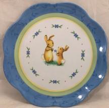 "ZAK! Designs Bunnies Pkaltzgraff 9"" Melamine Plate scalloped edges white blue - $9.89"