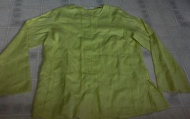 Laura Ashley 100% Linen Yellow Button Front Blouse Striped Pattern Long ... - $18.54