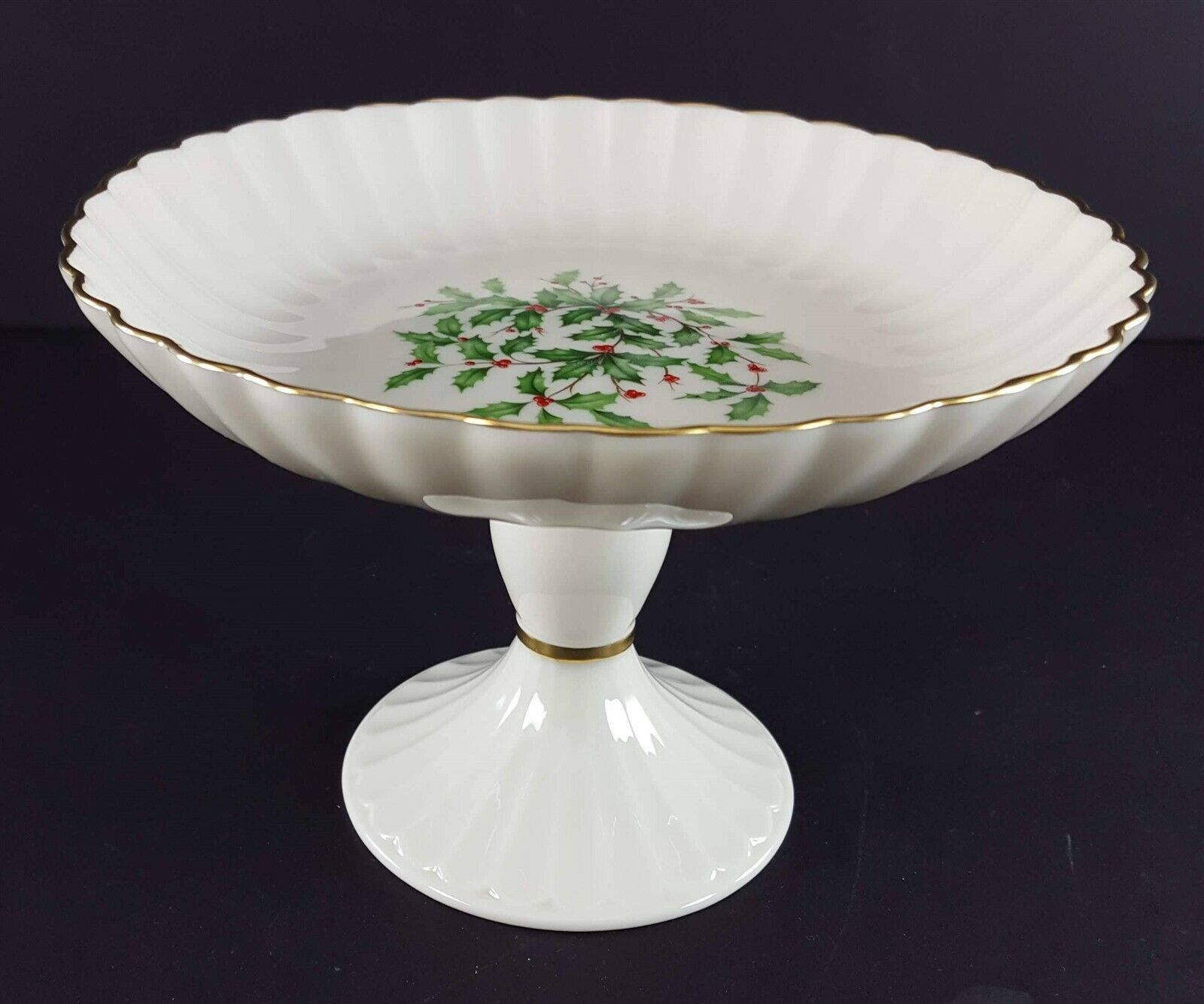 "LENOX China Holiday Dimension Round Compote Pedestal 5"" x 7-1/4"" Dinnerware image 4"