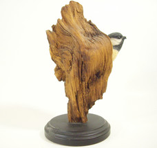 RICHARD LAMSON Black Capped Chickadee in Wood Trunk LE 157/1500 Figurine Estate - $54.44
