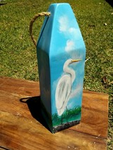 Great Egret bird coastal handcrafted wooden Buoy art nautical decor mari... - $46.00