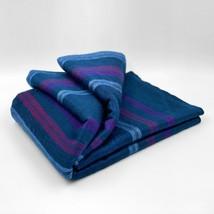 Soft and Warm Dark Blue Purple Striped ALPACA Wool Throw Blanket Double Bed Sofa - $84.67