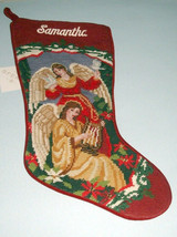 Sferra Needlepoint Stocking of Two Angels w/Embroidered Name Samantha In... - $39.90
