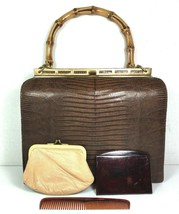 Bellestone Vtg Brown Reptile Print Leather Bamboo Handle Coin Purse Mirr... - $73.71