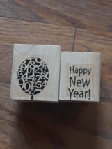 Set of 2 Stampin Up Rubber Stamp Wood Mounted Retired Happy New year & B... - $9.89