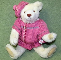 Vintage Gund BIALOSKY BEAR Jointed Teddy 1984 Ivory with Pink Knit Dress and Hat - $24.75