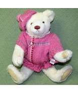 Vintage Gund BIALOSKY BEAR Jointed Teddy 1984 Ivory with Pink Knit Dress... - $24.75