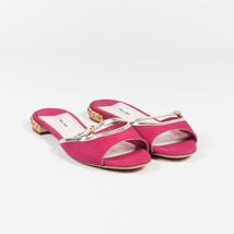 Miu Miu Pink & Metallic Gold Suede Crystal Embellished Open Toe Sandals ... - $335.00