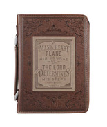 Bible Cover Brand NEW A Man's Heart Prov. 16:9 Medium Brown 6 5/8x 9 5/8... - $26.53