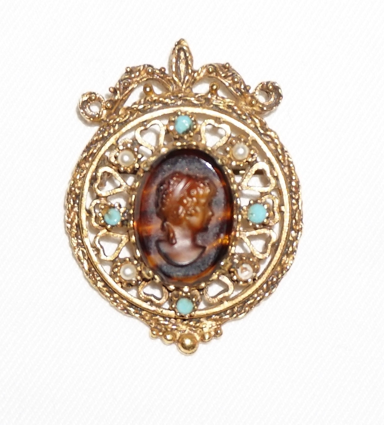 Primary image for Vintage Florenza Brooch  Brown Glass Tortoiseshell Cameo Signed Victorian
