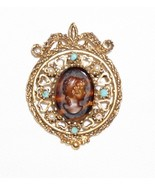 Vintage Florenza Brooch  Brown Glass Tortoiseshell Cameo Signed Victorian - $41.11