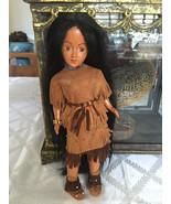 vintage doll  Native Indian girl long black hair Montana Canada - $25.00