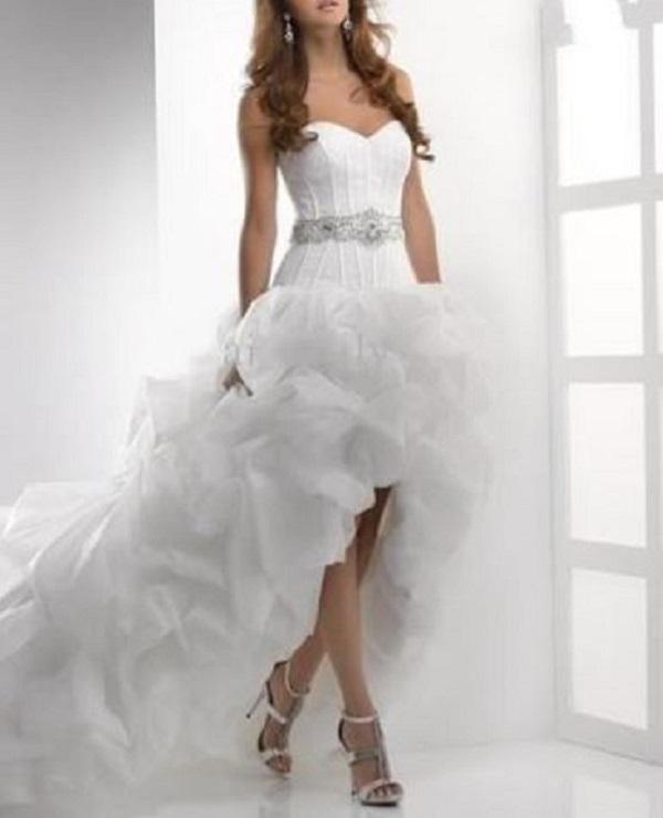 High Low Wedding  Dress Custom Beaded Belt Organza Wedding Gown