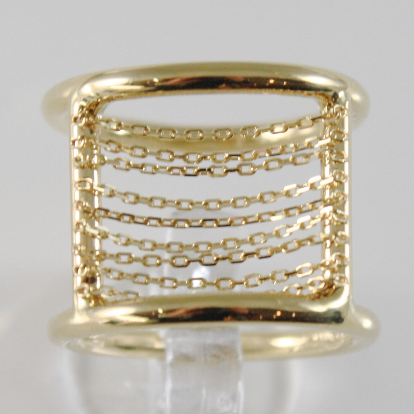 18K YELLOW GOLD BAND RING WITH MULTI WIRES DIAMOND CUT CHAINS, MADE IN ITALY