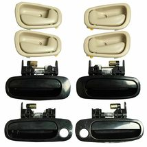 8Pcs Black Outside Beige Inside Left Right Door Handles for 98-02 Toyota Corolla - $26.88