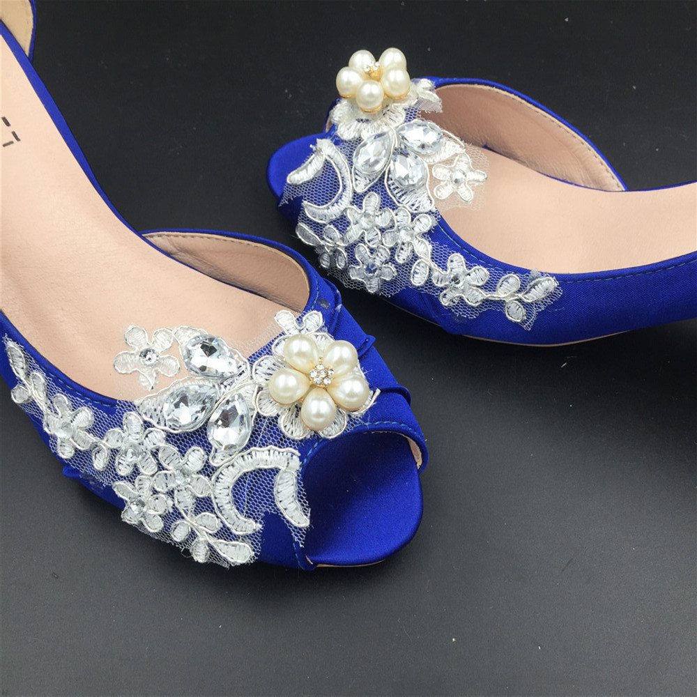 Women Blue Lace Pearls Satin Low Heels Wedding Shoes,RoyalBlue Lace Bridal Shoes image 4