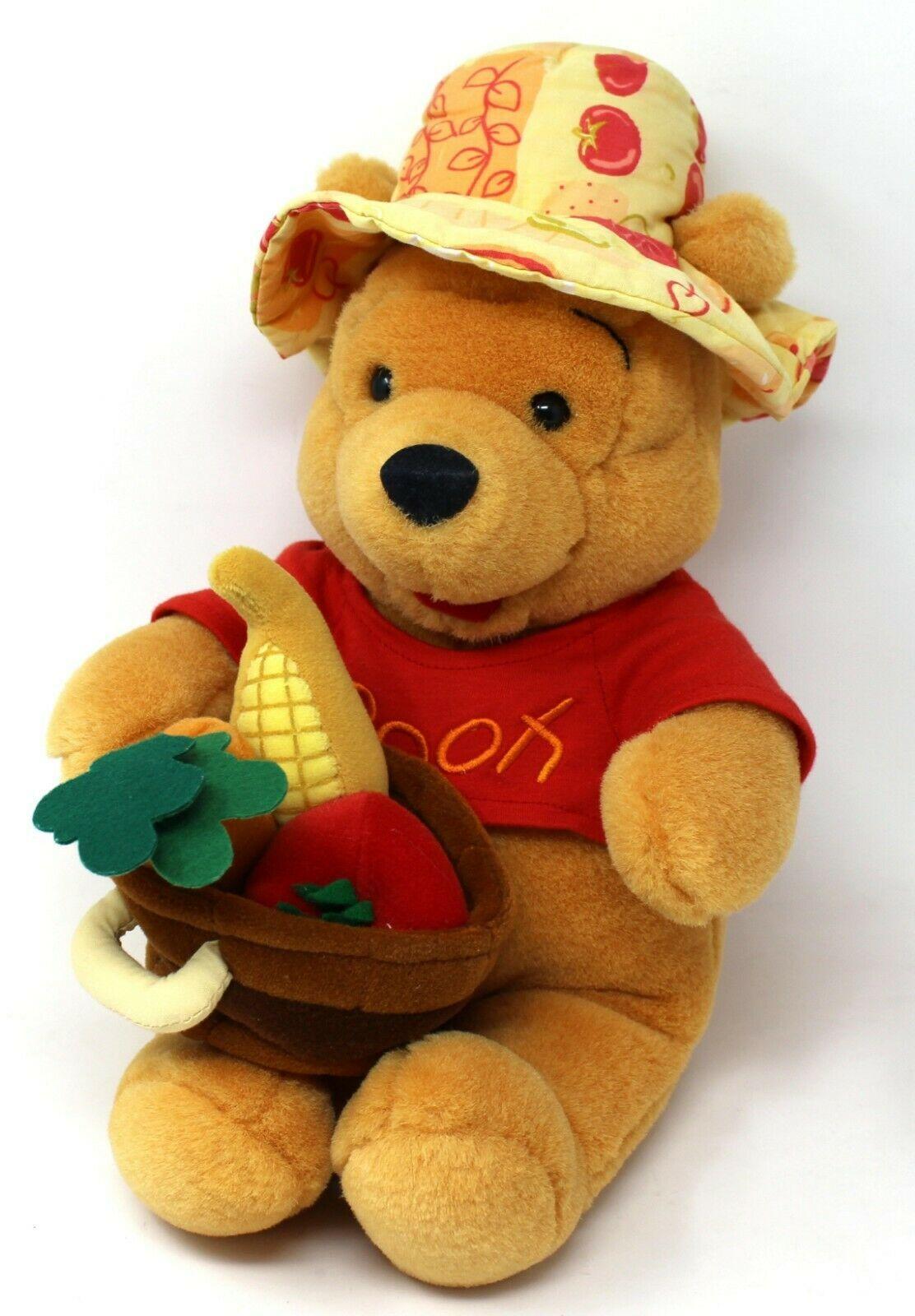 Disneys Winnie The Pooh Bear Autumn Thanksgiving Gardening Veggie Basket Plush