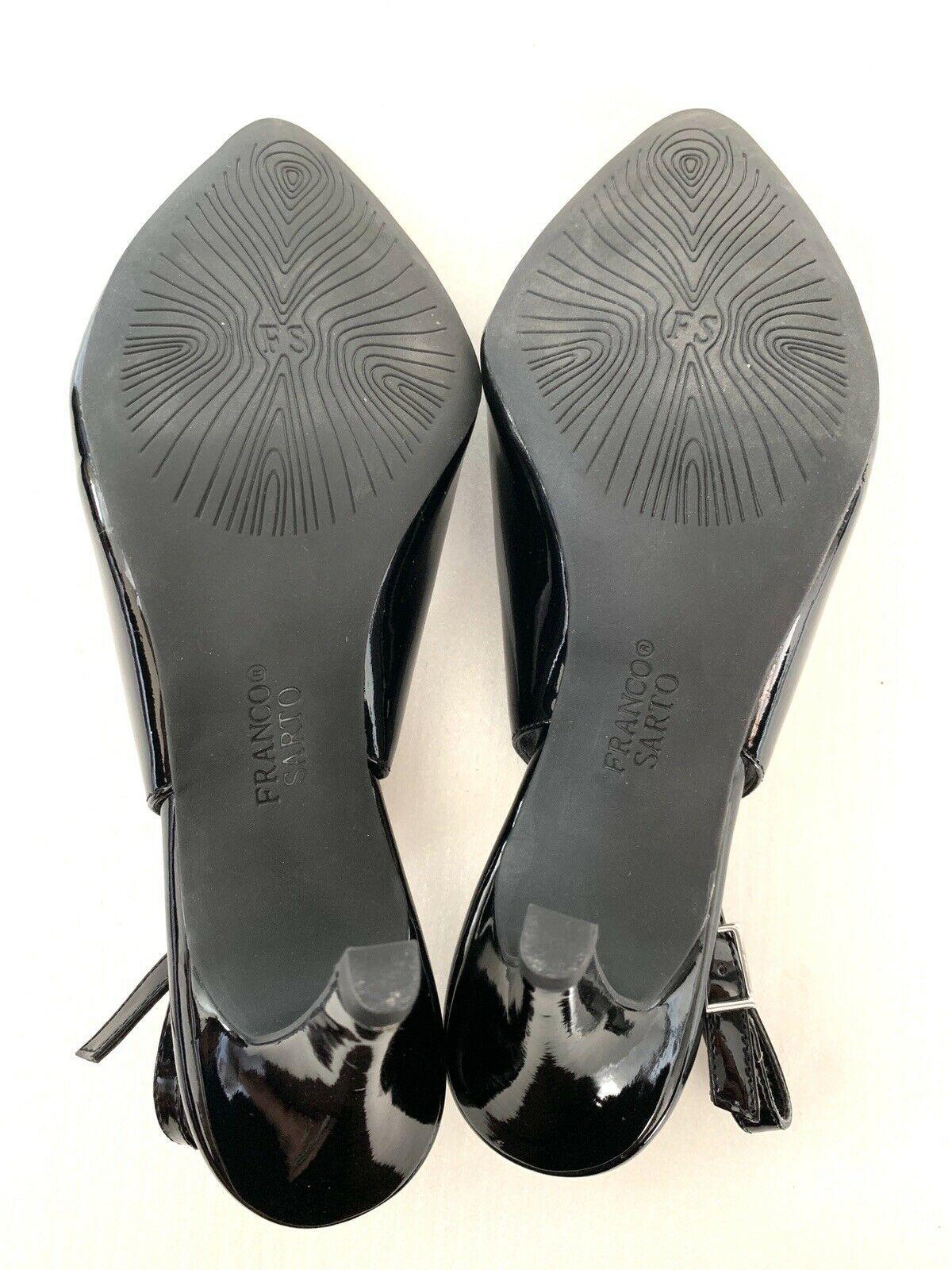 FRANCO SARTO Harla Black Patent Leather Slingback Pumps Heels SZ 8.5M image 7