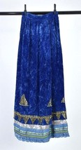 "Vintage 1970s Blue Velvet Metal Beaded Long Maxi Peasant Skirt 2XS 22"" W... - $32.66"