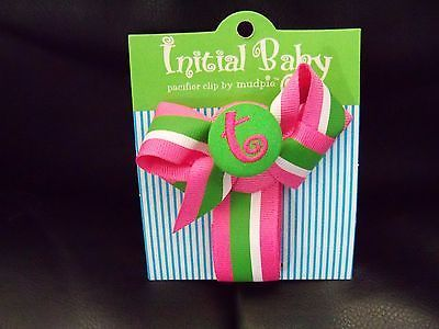 "Primary image for Mud Pie Initial ""T"" (In Lower Case) Baby Girl Multi-Color Pacifier Clip NWT"