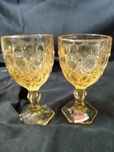 2 Vintage Fostoria Moonstone Stemmed Amber Wine Goblets Mid Century Modern  - $23.36