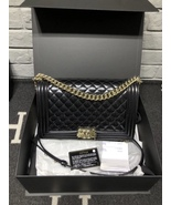 AUTHENTIC CHANEL BLACK PEARLESCENT PATENT LEATHER NEW MEDIUM BOY FLAP BA... - $4,299.99