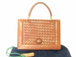Vintage Bottega Veneta intrecciato brown woven lambskin handbag with mat... - $432.00