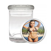 California Pin Up Girls D10 ODORLESS AIR TIGHT MEDICAL GLASS JAR CONTAINER - $10.84